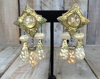 Victorian Earrings, Drop Earrings, Unique Earrings Pastel, Big Statement Earrings, Large Dangle Earrings, Beaded Earrings, Victorian Jewelry