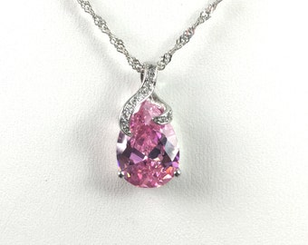 Silver Plated Pink Tear Drop Gem Necklace