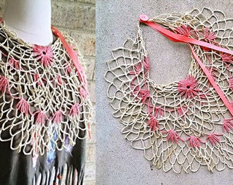 VINTAGE CROCHET COLLAR  Fishnet Necklace from Repurposed Antique Doiley