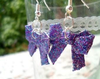 Origami Bow Earrings- Purple Sparkles