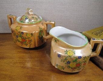 Vintage Trico Handpainted Lusterware Sugar Dish and Creamer - Nagoya, Japan