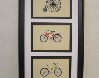 Framed bicycle, framed bicycle collage, framed embroidered bicycle