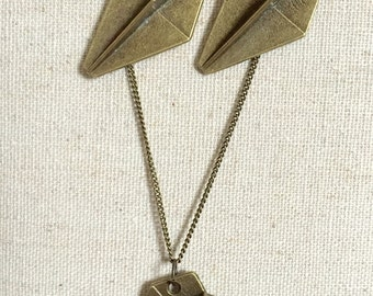 Paper Airplane earrings and necklace set