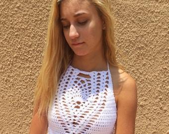 Crochet Women's Halter Style Festival Crop Top (White)