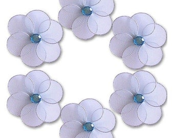 "Blue Mini Katie Flowers - 2"" - set of 6 - craft flowers, decorations, nylon flowers decor, nursery decor, wedding decor"