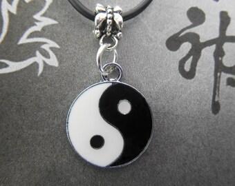 Yin Yang Chinese Symbol Enamel Pendant w/necklace