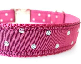 Large Rose Dog Collar, Rose Pink Dog Collar, Modern Female Collar, Large Female Collar, Pink Polka Dots Dog Collar