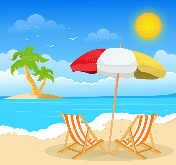 Clipart Beach Image Summer Holiday Commercial Use