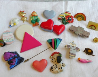 CLEARANCE, Vintage brooch lot, retro brooch lot, colorful brooch lot, destash brooch lot, destash jewelry, vintage brooches, huge brooch lot