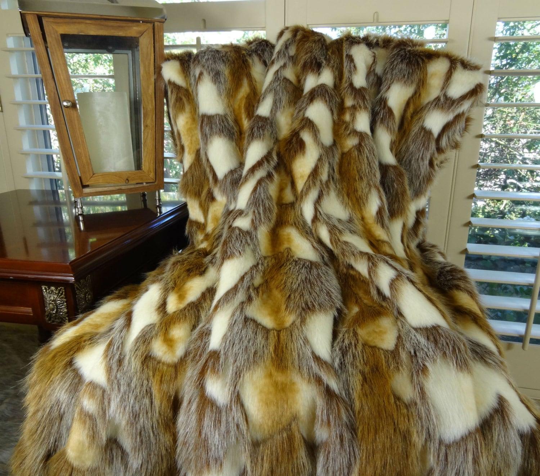 gold faux fur throw blanket and bedspread brandy fox fur. Black Bedroom Furniture Sets. Home Design Ideas