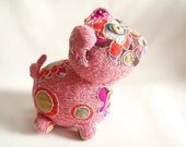 Hand knitted pig toy, soft toy, plush toy, stuffed toy