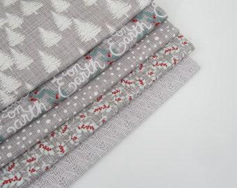 Moda Designer Fabric 'Winterberry' Christmas Trees Grey Fabric Fat Quarter Bundle x 5
