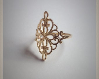 Filigree Gold Ring , Victorian Style Ring , Filigree Ring