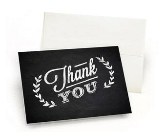 Hand-Drawn Chalk Thank You Cards - Simple Leaves (10 Cards + Envelopes)