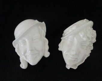 Vintage Ceramic Womens Faces Highly Glazed Wall Decor Made in Japan