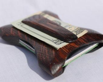Front pocket wallet, Wooden Wallet, Thin Wallet, The best wallet, best wallet for men, Money clip, Oak Leaf Wallet by BenchBuilt