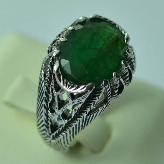 Sterling Silver Natural Emerald Men s Ring Size 9 by ZeynepGems
