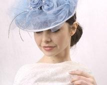 Light blue fascinator, Melbourne cup hat, Royal Ascot Hat, Kentucky derby hat, Derby fascinator hat, tea headpiece, couture hat, ooak hat