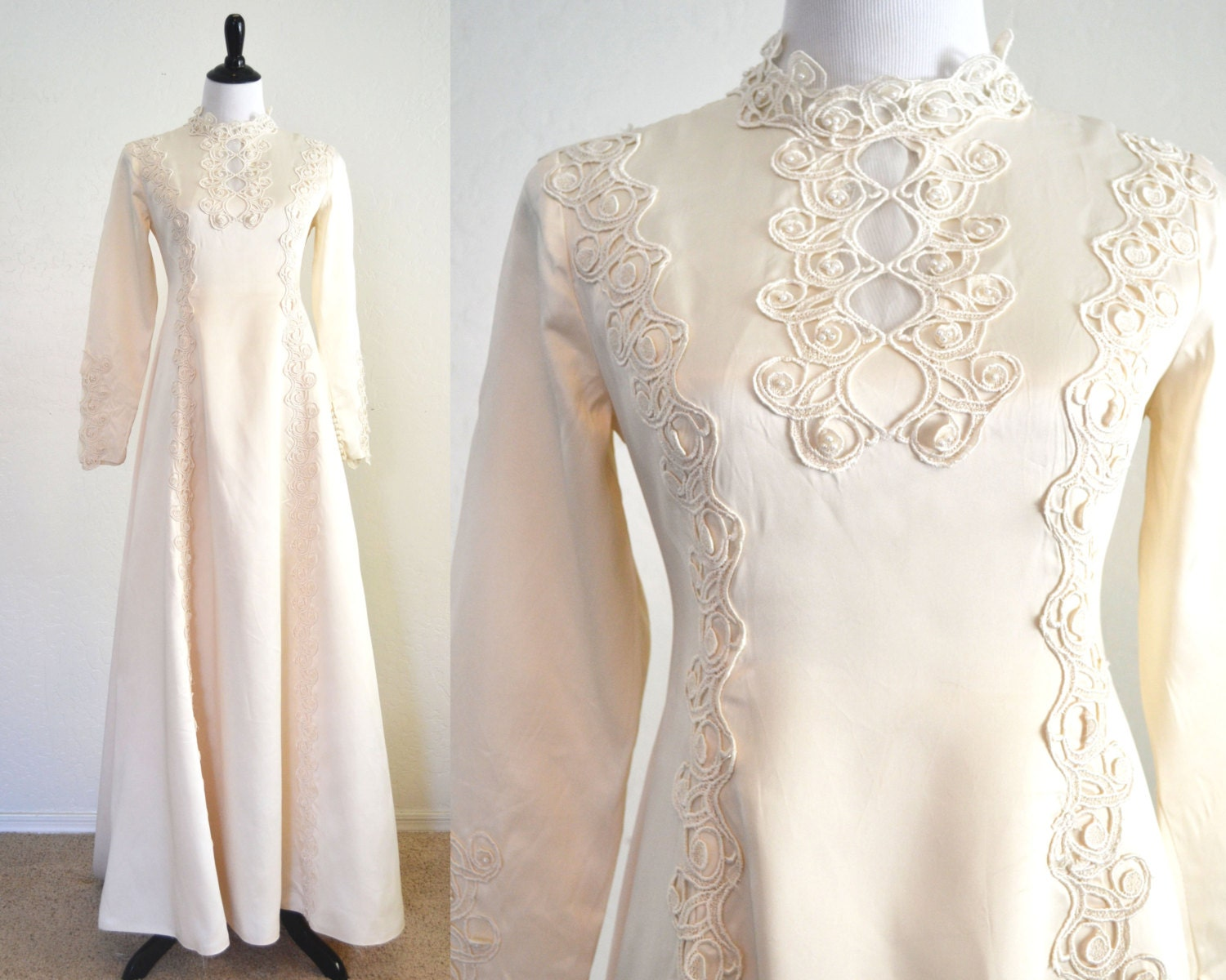 1960s Wedding Dress Art Nouveau Details Boho By YellowBeeVintage
