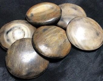 6 burnt horn buttons  30mm round