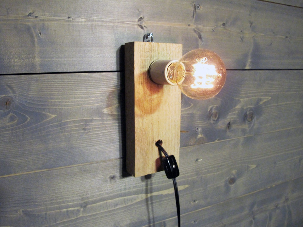 Reclaimed Wood Pallet Wall Sconce Or Table Lamp Upcycled