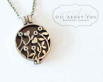 Essential Oil Diffuser Necklace Diffuser Necklace Aromatherapy Necklace Antique Bronze Locket Pendant Filigree Gift For Her Scent Perfume