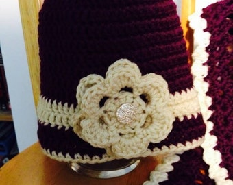 Pretty Hat with matching Scarf in wine color and beige for girls seven to twelve years old