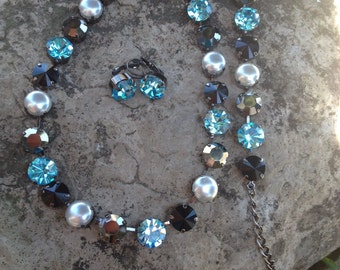 Swarovski crystal and pearl jewelry set