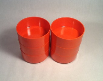 Heller Bowls, Massimo Vignelli, DWR, 1970's, Melmac, Orange, Set of 6