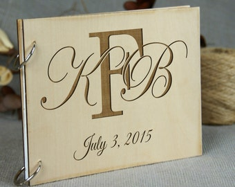 Beautiful FAMILY MONOGRAM Personalized Wedding Guest Book, Bridal Shower - Anniversary - Family Reunion Memory Book, Photo Prop, Rustic Chic