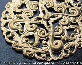 Ornate Bronze Filigree Stamping Vintage Big Brass Ornate Stamping. Vintage Stamping, Vintage Brass, Raw Brass, Filigree Stamping