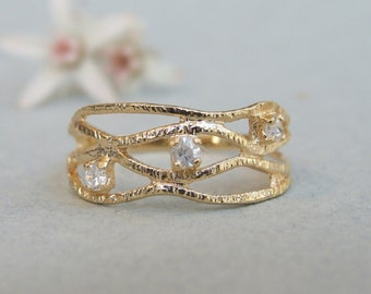CZ Waves Band Ring, 14K Gold Plated Ring