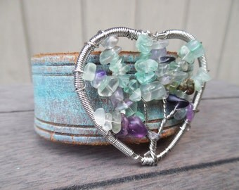 Turquoise Purple Silver Tree of Life Beaded Heart Pendant Distressed Upcycled Leather Cuff Bracelet