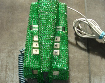 1970 GPO Vintage Trimphone upcycled with Green Diamante Crystals