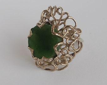 German silver ring with jade, handmade