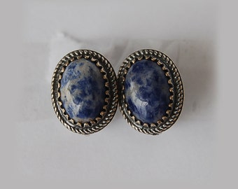 Earrings of German silver with lapis lazuli, handmade