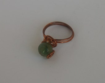 Ring of  copper with nephrite, handmade