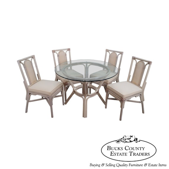 Rattan Bamboo Round Glass Top Dining Table 4 Chair Set