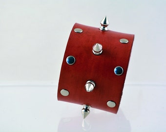 Red Leather Spike Cuff