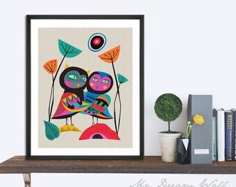 Owls hugging Print, wall art home decor inspirational art wall decor printable