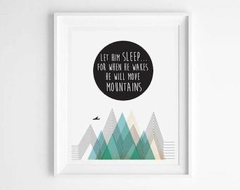 Mountains Print, modern, Scandinavian, Abstract art, Scandinavian print, Wall print, Modern art, Print art, Nursery art