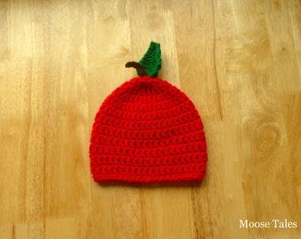 Crochet Baby Hat, Baby Apple Hat, Crochet Apple Hat, Baby Hat, Infant Hat, Baby Prop,Baby Photo Prop, Baby Gift, Baby Shower Gift, Baby