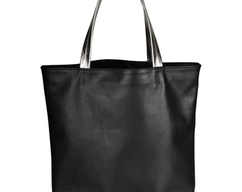 Simple Genuine Leather Tote Black With Silver Hadles