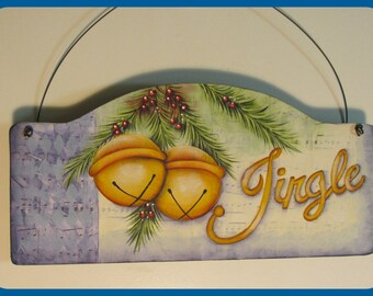 Hand Painted wooden Jingle Bells Sign