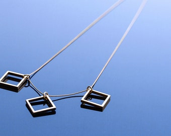 Three Squares Necklace // Long Geometric Necklace with Brass Square & Rectangle Pendant // Geometric Jewelry // Unique Necklace // Gift