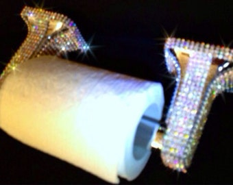 Silver Toilet Paper Roll Holder with Bling Rhinestone Crystals