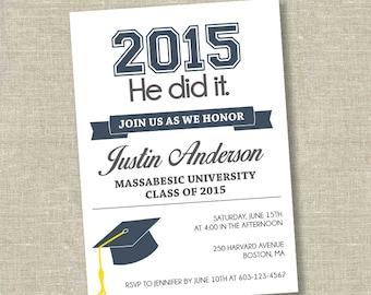 Graduation invitation, college graduation invitation, 2015 graduation, high school graduation invitation, modern graduation invitation