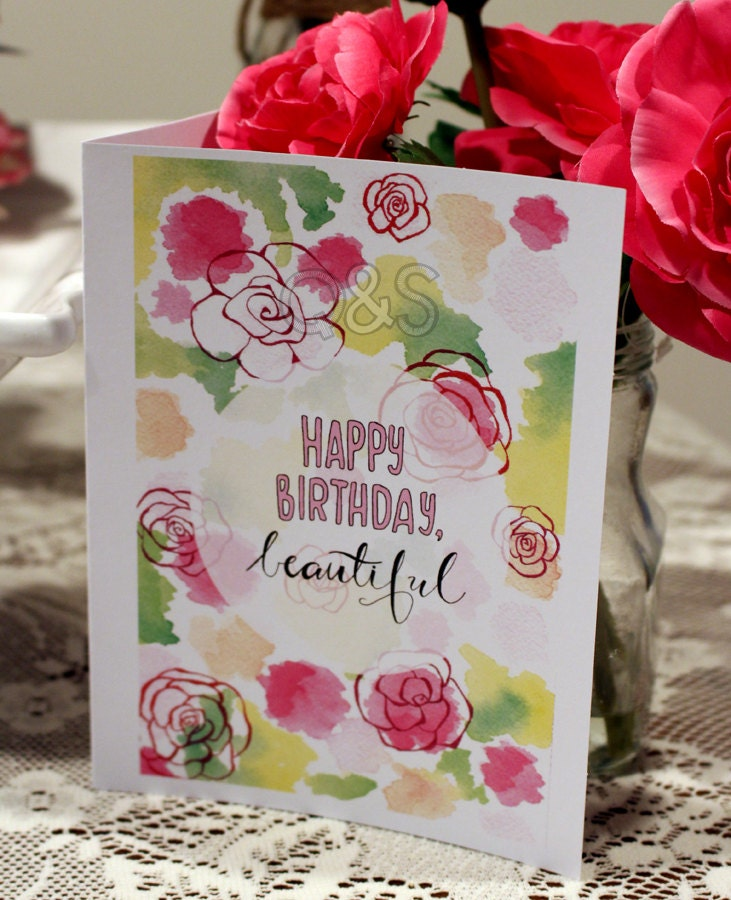 Happy Birthday Beautiful Floral Card