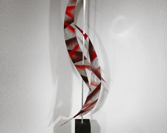 "Modern Abstract Metal Art Decor Sculpture - Black and Red ""Aero"" by Dustin Miller"