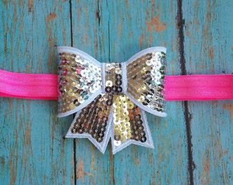 Silver Bow Headband, Silver sequin bow headband,Silver headband, Silver and pink headband